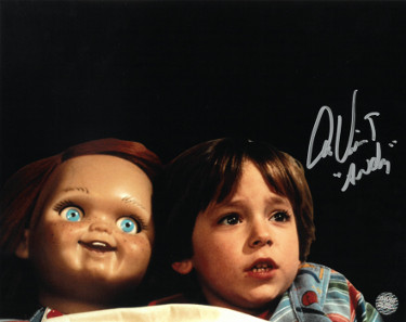 Alex Vincent signed Child's Play 8x10 Photo Andy with Chucky- AWM Hologram
