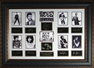 Buddy Holly, Elvis Presley, Chuck Berry Rock Legends Vintage 10 Photo Engraved Signature Series Premium Leather Framing 27x39
