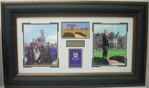 Arnold Palmer unsigned 1961-1995 St Andrews British Open 3 Photo/Scorecard Leather Framed