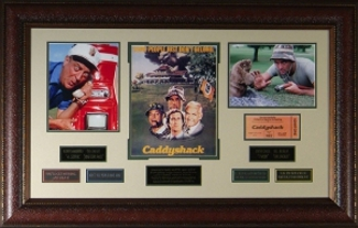 Caddyshack unsigned Vintage Movie Poster Collage Leather Framed 26x41 w/ photos (entertainment)