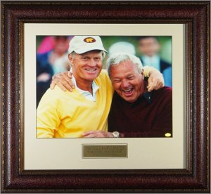Arnold Palmer & Jack Nicklaus  World Golf HOF 11X14 Photo Premium Leather Framing