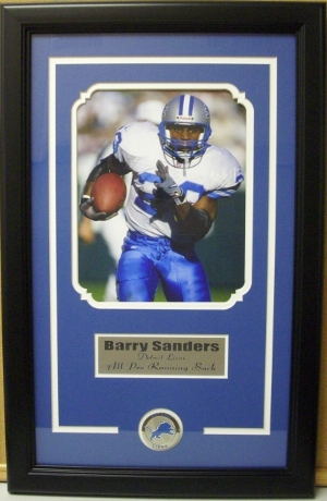 Barry Sanders Detroit Lions 8x10 Photo Logo Medallion- Custom Framing