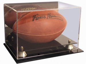 Football - Steiner Sports Full Size Deluxe Acrylic Display Case Mirror Back & Gold Risers