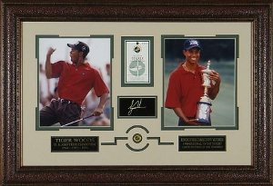 Tiger Woods U.S. Open Amateur - 21x31 2-Photo Engraved Signature Series w/ Scorecard & Pin Premium Leather Framing