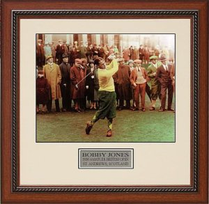 Bobby Jones 1930 British Open Vintage 8x10 Color Photo Custom Wood Framing (PGA Golf)