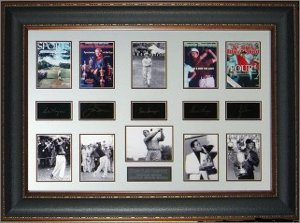 Grand Slam Golf Champs Engraved Signature 22x33 Leather Framing Ben Hogan, Tiger Woods, Jack Nicklaus, Gene Sarazen, Gary Player