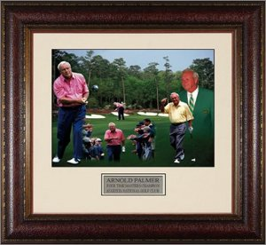 "Arnold Palmer unsigned ""50 Years"" Masters Collage 11x14 Photo Leather Framed"
