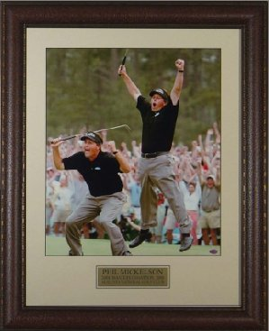 Phil Mickelson unsigned 2004 Masters Jump 2 pose 11x14 Leather Framed