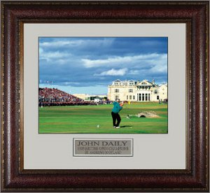 John Daly unsigned 1995 British Open 11X14 Leather Framed