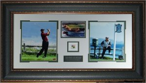 Jack Nicklaus & Tiger Woods 2000 US Open 2 Photo - Premium Leather Framing