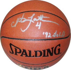 Christian Laettner signed Indoor/Outdoor Basketball 92 GOLD- JSA Hologram (Olympic Team USA)