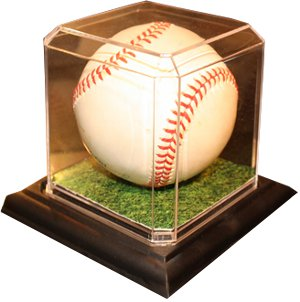 Baseball 1-Ball Acrylic Display Case w/ black base & Beveled Edges - USA Made