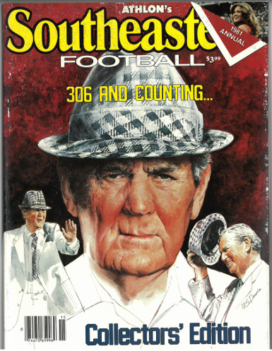 Paul Bear Bryant unsigned Alabama Crimson Tide 1981 Athlon Sports SEC College Football Collectors Edition Magazine- minor wear
