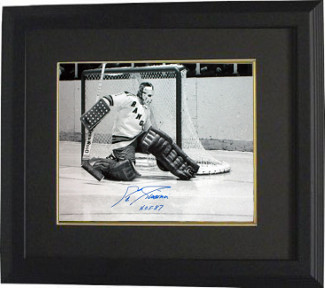 Ed Giacomin signed New York Rangers 16X20 B&W Photo Custom Framed HOF 87