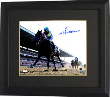 American Pharoah signed 16x20 Photo Custom Framed 2015 Belmont Stakes Horse Racing (Triple Crown) w/ Victor Espinoza (Black-Blac