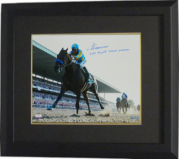 Victor Espinoza signed 16X20 Photo Custom Framed 2015 Belmont Stakes Horse Racing Triple Crown Winner- Steiner Holo