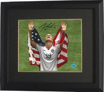 Julie Johnston signed 2015 World Cup 8x10 Photo Custom Framing #19 (arms up w/ flag-Team USA)
