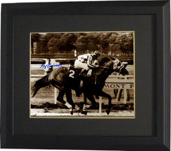 Ron Turcotte signed riding Secretariat 1973 Belmont Stakes Sepia 8x10 Photo #2 Custom Framed (Triple Crown)- Steiner Holo
