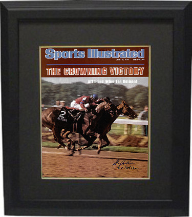 Affirmed signed Belmont Horse Racing 16X20 Photo Custom Framed Sports Illustrated Cover June 19, 1978 w/ 1978 Triple Crown