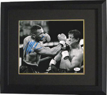 Mike Tyson signed Boxing 8X10 Photo Custom Framed- JSA Hologram (with Rocky- Heavyweight Champion)