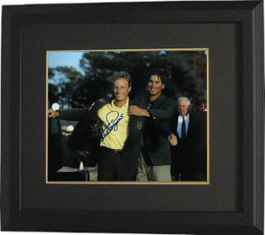 Bernard Langer signed PGA 11x14 Photo Custom Framed (1993 Augusta National Masters Championship green jacket w/ Fred Couples)