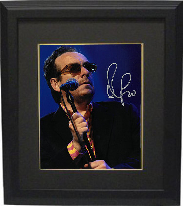 Elvis Costello signed 8x10 Photo Custom Framed (silver sig)- PSA/JSA/BAS Guaranteed To Pass