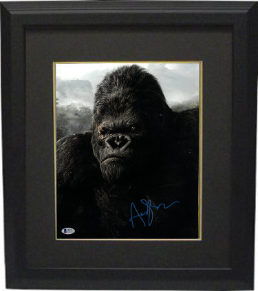 Andy Serkis signed King Kong 11X14 Photo Custom Framed (vertical- blue sig)- Beckett Holo #C65597