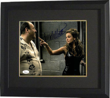 Drea de Matteo signed The Sopranos 8x10 Photo Custom Framing (Adriana La Cerva w/ Tony Soprano)- JSA Witnessed Hologram
