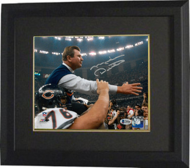 Mike Ditka signed Chicago Bears Super Bowl XX Coaching 8x10 Photo Custom Framed (Carryoff)- Beckett Witnessed Hologram