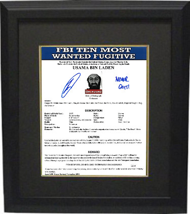 Robert O'Neill signed Bin Laden FBI Most Wanted 11x14 Photo Custom Framing Never Quit!- JSA Witnessed (Navy Seal Team 6)