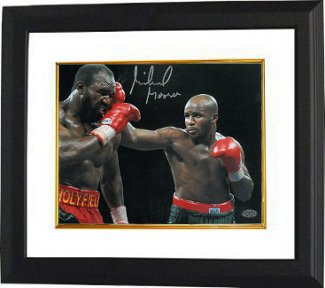 Michael Moorer signed Boxing 8x10 Photo Custom Framed vs Evander Holyfield (Heavyweight Champion)