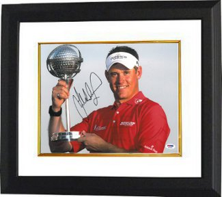 Lee Westwood signed 11X14 Photo Custom Framed PGA w/ Trophy- PSA Hologram