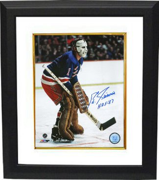 Ed Giacomin signed New York Rangers 16X20 Color Photo Custom Framed HOF 87