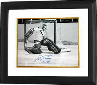 Eddie Giacomin signed New York Rangers 16X20 B&W Photo Custom Framed HOF 87