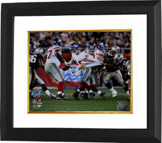 Eli Manning signed New York Giants Super l XLII 8x10 Photo Escape Custom Framing - Steiner Hologram