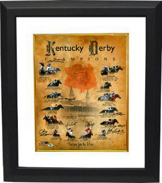 Foolish Pleasure signed Kentucky Derby Champions Churchill Downs Run for the Roses Horse Racing 16x20 Photo Custom Framed 8 sigs