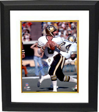 Archie Manning signed New Orleans Saints 16x20 Photo Custom Framed (blue signature-white jersey passing)- Steiner Hologram