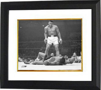 Muhammad Ali Vintage B&W 11X14 Photo - Custom Framed over Sonny Liston (horizontal)