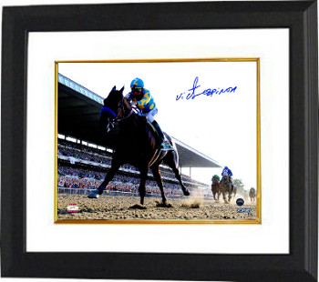 American Pharoah signed 8x10 Photo Custom Framed 2015 Belmont Stakes Horse Racing Triple Crown w/Espinoza-Steiner Holo