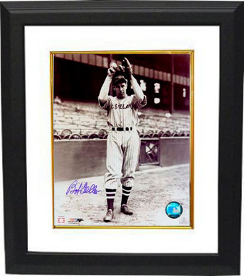 Bob Feller signed Cleveland Indians 8x10 Vintage Sepia Photo Custom Framing - JSA Hologram