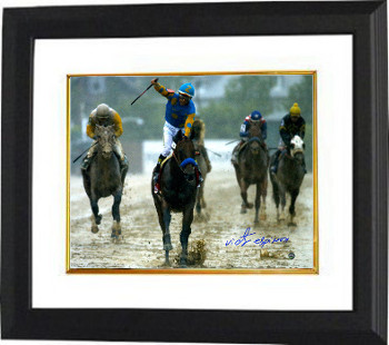 American Pharoah signed 11x14 Photo Custom Framed 2015 Preakness Horse Racing Triple Crown with Victor Espinoza- Steiner Holo