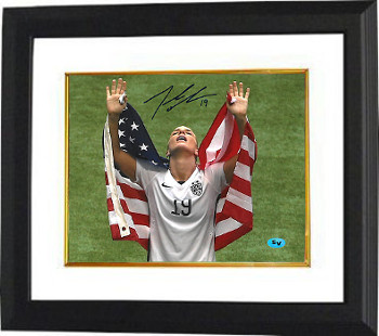 Julie Johnston signed 2015 World Cup 8x10 Photo Custom Framed #19 (arms up w/ flag-Team USA)