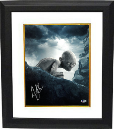 Andy Serkis signed Lord of the Rings Gollum 11X14 Photo Custom Framed (vertical- silver sig)- Beckett Holo #C65574