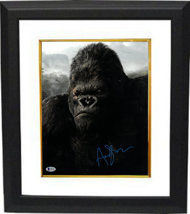 Andy Serkis signed King Kong 11X14 Photo Custom Framing (vertical- blue sig)- Beckett Holo #C65597