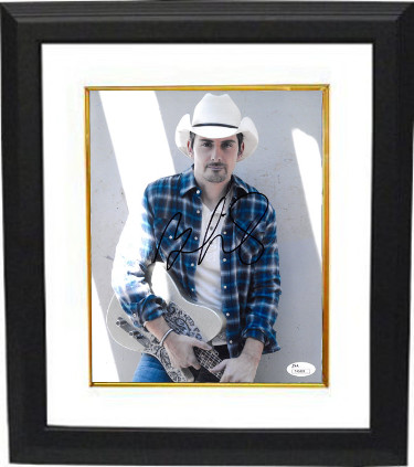 Brad Paisley signed 8x10 Photo Custom Framed- JSA Hologram #T40889 (with guitar)