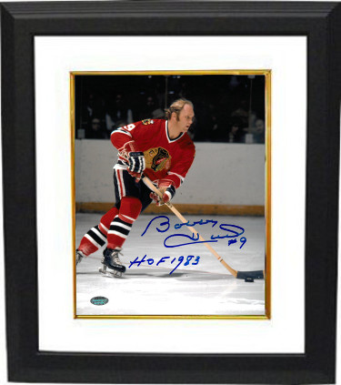 Bobby Hull signed Chicago Blackhawks 8x10 Photo Custom Framed #9 HOF 1983 (skating with puck)