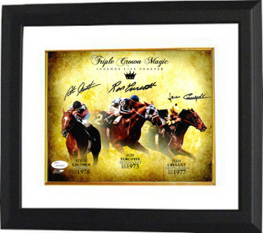 Triple Crown signed 16X20 Photo-Ron Turcotte/Secretariat, Jean Cruguet/Seattle Slew, Steve Cauthen/Affirmed Framed-JSA ITP Holo