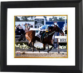 American Pharoah signed 16x20 Photo 2015 Belmont Stakes Finish Line Triple Crown Custom Framed w/ Victor Espinoza- Steiner Holo