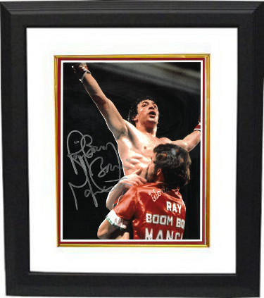 "Ray ""Boom Boom"" Mancini signed 8x10 Photo Custom Framing (Arms up celebration/red border)"