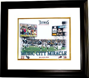 Music City Miracle Tennessee Titans Exclusive 16X20 Photo Custom Framing January 8, 2000 Kevin Dyson-Frank Wycheck